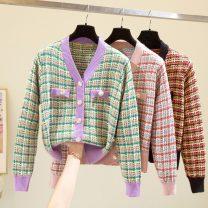 Women's large Spring 2021 Purple, black, pink Large XL, large L, large 2XL, large 3XL, large 4XL sweater singleton  commute easy Korean version routine