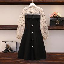Women's large Spring 2021 Picture color M. Big L, big XL, big 2XL, big 3XL, big 4XL Dress singleton  commute Korean version Medium length