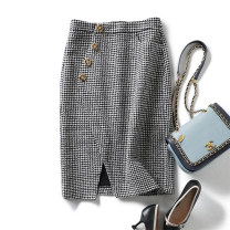 skirt Winter of 2019 M,L,XL As shown in the figure Middle-skirt grace High waist skirt houndstooth  30% and below wool