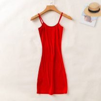 Dress Summer 2020 S, M Mid length dress singleton  Sleeveless commute Crew neck Loose waist Solid color Socket routine camisole 18-24 years old Type H Allie Aixi Korean version 31% (inclusive) - 50% (inclusive)