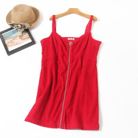 Dress Summer 2020 36,38,40,44 Middle-skirt Fake two pieces commute V-neck Loose waist Solid color zipper other other camisole 18-24 years old Type H Allie Aixi Korean version 31% (inclusive) - 50% (inclusive)