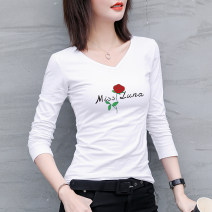 T-shirt Ginger white S M L XL XXL XXXL Spring 2020 Long sleeves V-neck Self cultivation Regular routine cotton 86% (inclusive) -95% (inclusive) 25-29 years old Under the cotton tree C260-033 Cotton 95% polyurethane elastic fiber (spandex) 5% Pure e-commerce (online only)