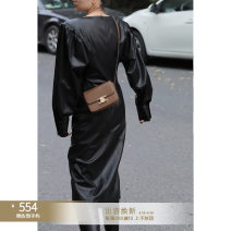 Dress Winter 2020 Retro Black S,M,L Mid length dress singleton  Long sleeves commute Crew neck Solid color other other puff sleeve Others 25-29 years old Type X Other / other Retro M20AW3297B1A More than 95% other PU