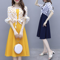 Dress Summer 2021 Yellow blue S M L XL XXL Middle-skirt Two piece set elbow sleeve Sweet square neck Elastic waist Dot Big swing Petal sleeve camisole 18-24 years old Indoliz Pleated button zipper print More than 95% other Other 100% princess Pure e-commerce (online only)