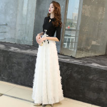 Dress / evening wear Weddings, adulthood parties, company annual meetings, daily appointments S M L XL XXL XXXL Picture color long picture color short white short black long black short Korean version longuette middle-waisted Winter of 2018 Fall to the ground stand collar zipper 18-25 years old other