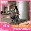 Dress Silijiao Floral Dress S M L XL XXL XXL XXL large XXL Korean version Long sleeves have more cash than can be accounted for spring V-neck Decor 1-07CS0119
