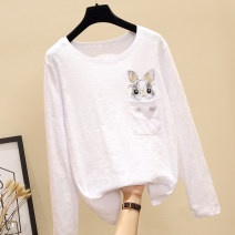 T-shirt S M L XL 2XL Autumn of 2018 Long sleeves Crew neck easy Regular routine commute cotton 96% and above Korean version youth Animal design Lena Pocket embroidery Cotton 100% Pure e-commerce (online only)
