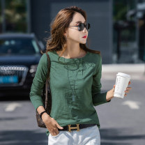 T-shirt White black green pink S M L XL 2XL Spring 2020 Long sleeves Crew neck easy Regular routine commute cotton 96% and above Korean version originality Solid color Lena LN-6952 Asymmetric button Cotton 100% Pure e-commerce (online only)