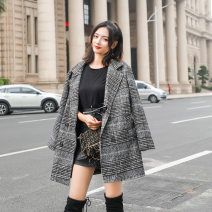 woolen coat Winter 2016 S,M,L,XL grey Cashmere 31% (inclusive) - 50% (inclusive) Medium length Long sleeves double-breasted lattice Self cultivation Run17-6658fe Han jacquard weave