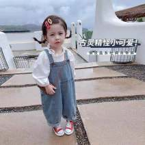 trousers Other / other female 80cm,90cm,100cm,110cm,120cm,130cm Blue denim suspenders [genuine guarantee], white shirt [genuine guarantee] spring and autumn trousers Korean version There are models in the real shooting rompers Tether middle-waisted cotton Open crotch Other 100% Bei Suspenders Class B