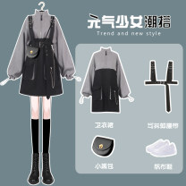 Dress Spring 2021 Grey sweater dress with belt [two piece set] S M L XL Short skirt Two piece set Long sleeves commute Crew neck High waist Solid color Socket A-line skirt routine Others 18-24 years old Type A Needarna Korean version wen3-97OEg More than 95% polyester fiber