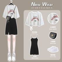 Dress Summer 2021 White printed short sleeve [one piece] 829 black suspender skirt [one piece] white printed short sleeve + 829 black suspender skirt S M L XL Short skirt Two piece set Short sleeve commute Crew neck High waist Socket A-line skirt camisole 18-24 years old Type A Needarna 0131-wen3-168