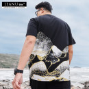 T-shirt Youth fashion black routine 4XL 5XL 6XL XL 2XL 3XL Jinyou Short sleeve Crew neck easy Other leisure summer Cotton 95% polyurethane elastic fiber (spandex) 5% Large size routine tide Cotton wool Summer 2020 other printing Cotton ammonia other washing Fashion brand Pure e-commerce (online only)