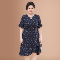 Middle aged and old women's wear Dress Lotus leaf sleeve Medium and long term Chiffon Irregular skirt Summer 2020 noble singleton  easy Abstract pattern Condom moderate polyester 40-49 years old V-neck 96% and above WPD66-YS11163 Ruffles You Aifei Polyester 98% other 2% Medium and long term