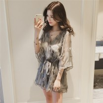 Women's large Summer 2020 Grey Jumpsuit Dress singleton  commute moderate Short sleeve Solid color Korean version V-neck Three dimensional cutting Beautiful forever 25-29 years old Lace stitching 31% (inclusive) - 50% (inclusive) Middle-skirt Other 100.00% Pure e-commerce (online only) shorts
