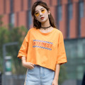T-shirt S M Summer 2021 Short sleeve Crew neck easy have cash less than that is registered in the accounts routine commute cotton 86% (inclusive) -95% (inclusive) 18-24 years old Korean version originality Color matching of letters a line printing Cotton 95% polyurethane elastic fiber (spandex) 5%