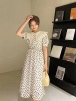 Dress Summer 2021 Apricot, blue S,M,L,XL longuette singleton  Short sleeve Sweet Doll Collar High waist Abstract pattern Socket Big swing puff sleeve Others Type A Lace up, stitching 31% (inclusive) - 50% (inclusive) Chiffon other