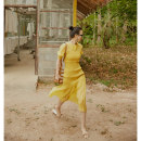 Dress Summer of 2019 Yellow, black, yellow reservation, black reservation M,S,XS,L Mid length dress Two piece set Short sleeve commute other Elastic waist Solid color Socket other puff sleeve Others 25-29 years old Type H TOP CLOSET Ol style fold T19B2230 30% and below other