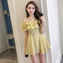 Dress Summer of 2018 S M L XL Short skirt singleton  Short sleeve commute One word collar High waist lattice zipper A-line skirt routine Breast wrapping 18-24 years old Type A Korean version More than 95% brocade polyester fiber Other polyester 95% 5% Pure e-commerce (online only)