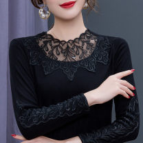 Lace / Chiffon Spring 2020 Black thin black Plush XL S M L 2XL 3XL 4XL 5XL Long sleeves commute Socket singleton  Self cultivation Regular Crew neck Solid color routine 35-39 years old Miman Poetry QQL006 Patchwork lace lady Polyamide fiber (nylon) 100%
