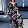 Dress Summer 2020 Lotus growing step by step XL 2XL 3XL 4XL 5XL 6XL Mid length dress singleton  elbow sleeve commute V-neck Loose waist Decor Socket A-line skirt routine 40-49 years old Type A Miman Poetry Simplicity printing More than 95% Chiffon polyester fiber Polyester 100%