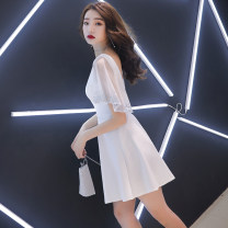 Dress / evening wear Weddings, adulthood parties, company annual meetings, daily appointments S M L XL XXL White ironing short black ironing short Korean version Short skirt middle-waisted Summer of 2019 A-line skirt Deep collar V zipper 18-25 years old CWJ19108 Short sleeve Diamond ornament