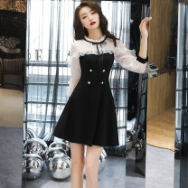 Dress / evening wear Weddings, adulthood parties, company annual meetings, daily appointments S M L XL XXL XXXL White short black short Korean version Short skirt High waist Summer of 2019 A-line skirt U-neck zipper 18-25 years old CWJ19080 three quarter sleeve flower Solid color routine Other 100%