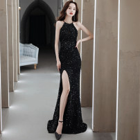 Dress / evening wear Wedding adult party company annual meeting performance S M L XL XXL black sexy longuette middle-waisted Spring 2021 Self cultivation Hanging neck style zipper 18-25 years old Sleeveless Nail bead Solid color Collection of objects other Other 100% Pure e-commerce (online only)