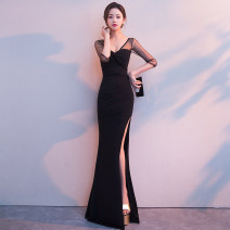 Dress / evening wear Collection of objects Other 100% Pure e-commerce (online sales only) Wedding, adult party, company annual meeting appointment longuette Self cultivation three quarter sleeve Summer 2018 sexy Deep collar V middle-waisted CWJ180070 zipper 18-25 years old routine Solid color