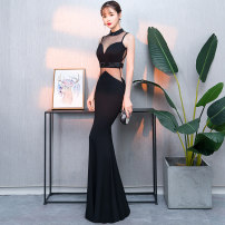 Dress / evening wear S M L XL sexy longuette middle-waisted Autumn of 2018 fish tail Hanging neck style Hollowing out 18-25 years old Sleeveless Diamond ornament Solid color Collection of objects other Other 100% Pure e-commerce (online only) Acrylic