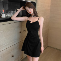 Dress Summer 2021 black S M L Short skirt singleton  Sleeveless commute other High waist Solid color Socket A-line skirt other camisole 25-29 years old Type A Ya makeup Korean version Asymmetrical open back stitching MISS & HZH --  three thousand nine hundred and eleven # other polyester fiber