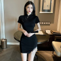 Dress Summer 2021 black S M L Short skirt singleton  Short sleeve commute stand collar High waist Solid color A button One pace skirt routine Others 25-29 years old Type X Ya makeup Retro Chain fold stitching button YYFS-- 3249# 51% (inclusive) - 70% (inclusive) other polyester fiber
