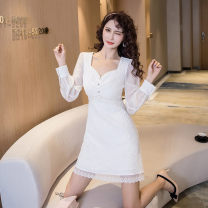 Dress Spring 2021 white S M L XL Short skirt singleton  Long sleeves commute V-neck High waist Solid color zipper A-line skirt routine Others 25-29 years old Type A Ya makeup Korean version Pleated button mesh HCFSSPD- 2819 51% (inclusive) - 70% (inclusive) other polyester fiber