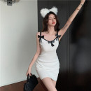 Dress Summer 2021 White black One size fits all Short skirt singleton  Sleeveless commute V-neck High waist Solid color Socket One pace skirt other camisole 25-29 years old Type X Ya makeup Korean version Butterfly dew back stitching FANFFJ- 9019# 51% (inclusive) - 70% (inclusive) other