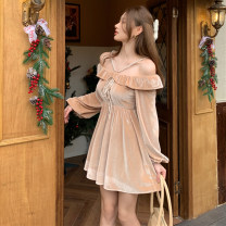Dress Spring 2021 Black apricot S M Short skirt singleton  Long sleeves commute One word collar High waist Solid color Socket A-line skirt routine camisole 25-29 years old Type A Ya makeup Korean version Bow and ruffle open back pleated stitching bandage XHZXHZ -11220# other polyester fiber