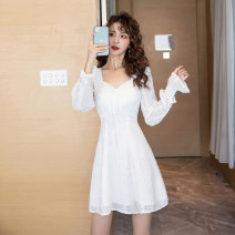 Dress Spring 2021 white S M L XL Short skirt singleton  Long sleeves commute V-neck High waist Solid color zipper A-line skirt pagoda sleeve Others 25-29 years old Type A Ya makeup Korean version Butterfly dew back fold stitching bandage HCFSSPD -  two thousand seven hundred and four Chiffon