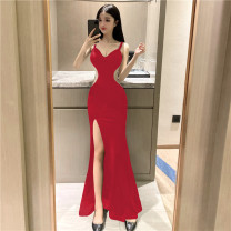 Dress Spring 2021 Black red M L Mid length dress singleton  Sleeveless commute V-neck High waist Solid color Socket One pace skirt other camisole 25-29 years old Type X Ya makeup Korean version Diamond inlaid open back pleated stitching gauze 570FS-2102# 51% (inclusive) - 70% (inclusive) other