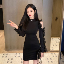Dress Spring 2021 black S M L Short skirt singleton  Long sleeves commute Half high collar High waist Solid color Socket One pace skirt other Others 25-29 years old Type X Ya makeup Korean version Open back pleated stitching with ruffles YASFS-9075 51% (inclusive) - 70% (inclusive) other