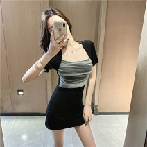 Dress Summer 2021 black S M L Short skirt singleton  Short sleeve commute square neck High waist Solid color Socket One pace skirt routine Others 25-29 years old Type X Ya makeup Korean version Pleated mesh 51% (inclusive) - 70% (inclusive) other polyester fiber Polyester 55% other 45%