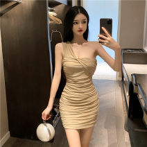 Dress Autumn 2020 Khaki white black red pink sky blue S M L Short skirt singleton  Sleeveless commute other High waist Solid color Socket Pleated skirt other camisole 25-29 years old Type A Ya makeup Korean version Open back fold splicing RRXSC-2223# 51% (inclusive) - 70% (inclusive) other