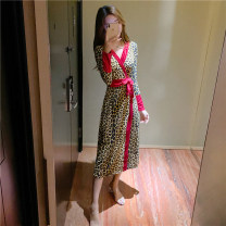 Dress Spring 2021 Picture color M L Mid length dress singleton  Long sleeves commute V-neck High waist Leopard Print Socket One pace skirt routine Others 25-29 years old Type X Ya makeup Korean version Bowknot stitching bandage 51% (inclusive) - 70% (inclusive) other polyester fiber