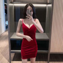 Dress Autumn 2020 Red and black S M L XL Short skirt singleton  Sleeveless commute V-neck High waist Solid color Socket One pace skirt other camisole 25-29 years old Type X Ya makeup Korean version Open back stitching GMFS-931## 51% (inclusive) - 70% (inclusive) other polyester fiber