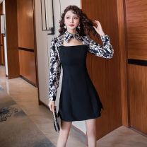 Dress Spring 2021 black S M L XL Short skirt singleton  Long sleeves commute Polo collar High waist Decor zipper A-line skirt routine Hanging neck style 25-29 years old Type A Ya makeup Korean version Button print with cutout stitching HCFSSPD-2862 51% (inclusive) - 70% (inclusive) other