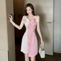 Dress Spring 2021 Picture color S M L Short skirt singleton  Sleeveless commute V-neck High waist other zipper Irregular skirt other camisole 25-29 years old Type X Ya makeup Korean version Open back Auricularia stitching button DXH418AYJR-0883# 91% (inclusive) - 95% (inclusive) other polyester fiber