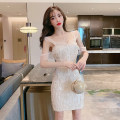 Dress Spring 2021 Apricot white S M L Short skirt singleton  Sleeveless commute V-neck High waist Solid color zipper One pace skirt raglan sleeve camisole 25-29 years old Type X Ya makeup Korean version Tassel open back chain stitching Sequin mesh YASFS-9010 51% (inclusive) - 70% (inclusive) other
