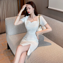 Dress Spring 2021 White black S M L Short skirt singleton  Short sleeve commute square neck High waist Solid color zipper One pace skirt routine Others 25-29 years old Type X Ya makeup Korean version Pleated zipper DXH418AYJR-677# 91% (inclusive) - 95% (inclusive) other polyester fiber