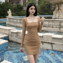 Dress Summer 2021 Khaki black red S M L Short skirt singleton  Long sleeves commute square neck High waist Solid color Socket One pace skirt routine Others 25-29 years old Type X Ya makeup Korean version Open back pleated mesh LLFS -- four hundred and seventy-six # 51% (inclusive) - 70% (inclusive)