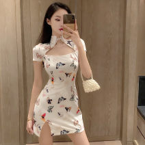 Dress Summer 2021 white S M L Short skirt singleton  Short sleeve commute stand collar High waist Decor A button One pace skirt routine Others 25-29 years old Type X Ya makeup Retro 51% (inclusive) - 70% (inclusive) other polyester fiber Polyester 55% other 45% Pure e-commerce (online only)
