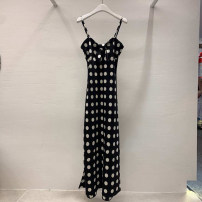 Dress Summer 2020 black S,M,L,XL Mid length dress singleton  Sleeveless commute other High waist Dot Socket A-line skirt routine camisole 18-24 years old Type A Korean version Resin fixation More than 95% other other
