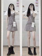 Dress Summer 2021 Plaid Dress S M L XL Short skirt Fake two pieces Short sleeve commute Crew neck High waist lattice A-line skirt puff sleeve Others 18-24 years old Type A Beautiful beauty Korean version Splicing More than 95% other Other 100% Pure e-commerce (online only)